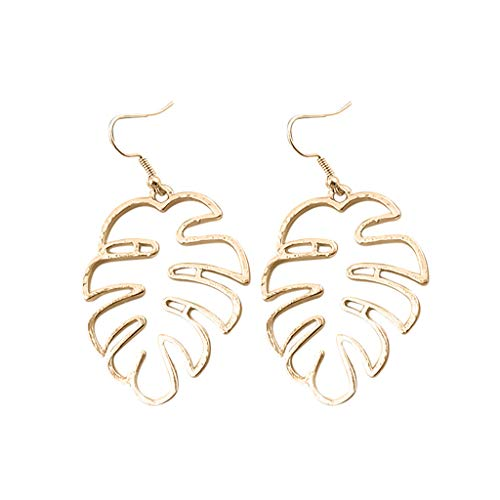 Colorful Leaf Pendant Drop Hook Earrings Metal Hollow Statement Dangle Fashion Jewelry ()