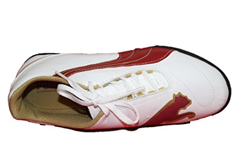 Puma V5.08 Big Cat II TT Jr. - Botas de Fútbol de material sintético Niño White-Rio Red-Team Gold