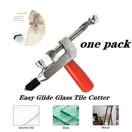 Multi-Functional Glass Cutter Easy Glide Glass & Tile Cutter Ceramic Tile Opener Cutter for Thick Glass Mosaic and Tiles Cutting & Separate Glass Cutter Cutting Tool (1pack-White)