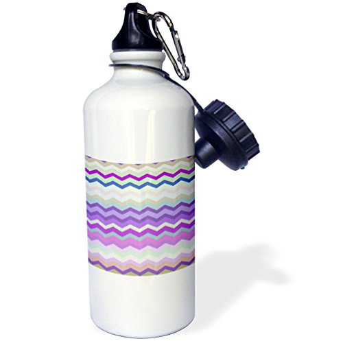 """3dRose wb_56653_1 """"Purple Green and Beige Colorful Zig Zag Chevron Pattern inspired by knitted sweater patterns"""" Sports Water Bottle, 21 oz, White"""