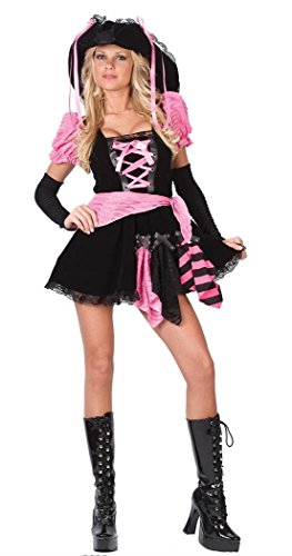 FunWorld Women's Pink Punk Pirate, Black, S/M 2-8 (Pink Punk Pirate)