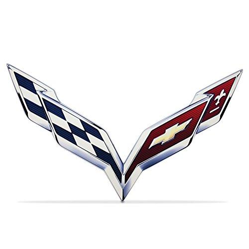Emblem Metal Sign - C7 Corvette Stingray Crossed-Flag Emblem Metal Sign 6
