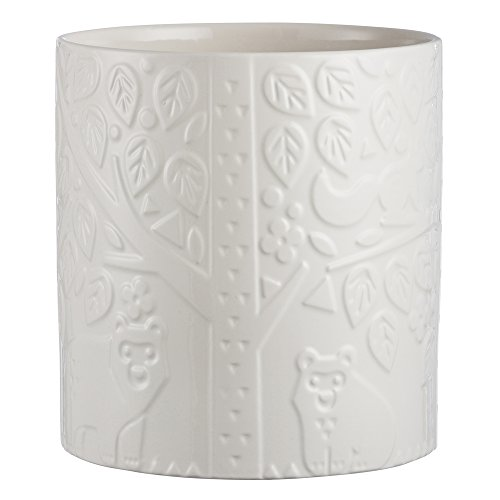 Collection Holder Utensil - Mason Cash In the Forest Utensil Pot, Large Durable Stoneware Crock for Organizing Kitchen Tools, Intricate Embossed Design, 90-Fluid Ounces, Cream