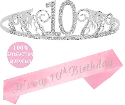 MEANT2TOBE 10th Birthday Tiara and Sash Silver, Happy