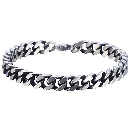 Davieslee Gunmetal Stainless Steel Curb Cuban Link Chain Bracelet for Men Womens 8mm 7inch ()