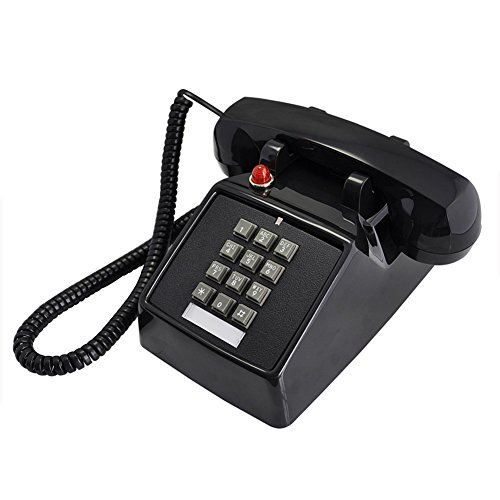 NYDZDM Black Classic Retro 1970s Vintage Style Landline Telephone, Features Traditional Bell Ring and Push Button Dial - Plugs Into Standard Phone Socket (Color : - Vintage Button 1970s
