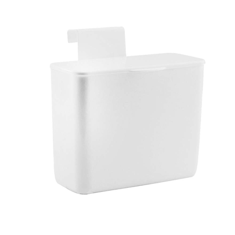 Sacow Hanging Storage Box, Cabinet Door Bathroom Cosmetics Boxes Desk Top Boxes Kitchen Plastic Garbage Bags Boxes with Hook (White)