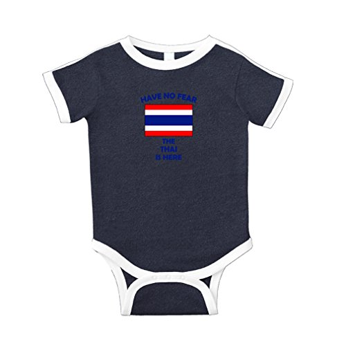 Have No Fear Thai is Here Thailand Cotton Short Sleeve Crewneck Unisex Baby Soccer Bodysuit Sports Jersey - Navy, - Thai Jersey Soccer