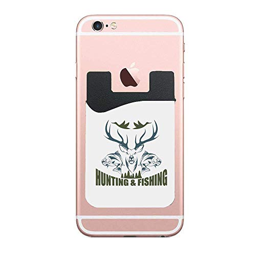 CardlyPhCardH Hunting Artistic Emblem Moose Head Horns Trout Salmon Sea Fishes Olive Green Slate Blue White Phone Pocket,Cell Phone Stick On Card Wallet,Credit Cards/ID and All Smartphones 2 PCS