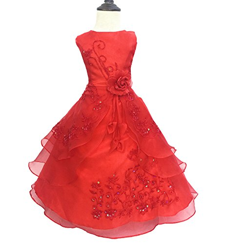 Party Girl Princess Red for LIYIZO Bow Dress Flower Bridesmaid Kids Gown Wedding Girls xEaRwnw81q
