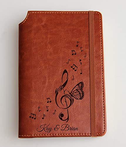 Music notes journal with treble clef and butterfly Custom text or custom quote leather bound, strip with the same color to keep it closed, jotter, scribbling pad, pet loss journal - Leather Traditional Note Jotter