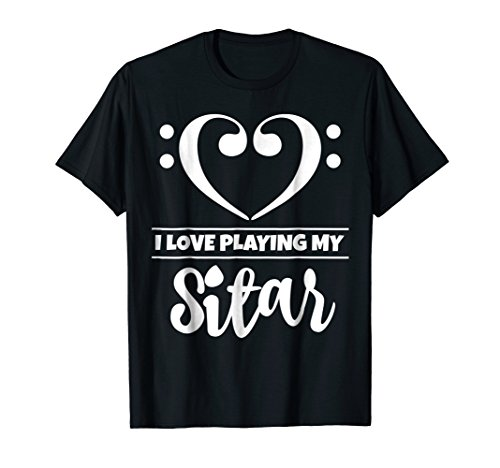 Double Bass Clef Heart I Love Playing My Sitar T-Shirt