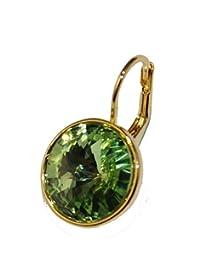 Swarovski Elements Peridot Bella Earrings Gold Plated Dangle Earrings Leverback