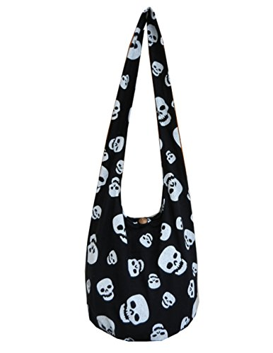 BTP! Skull Punk Rock Hippie Hobo Thai Cotton Sling Crossbody Bag Messenger Purse (Black SK9)