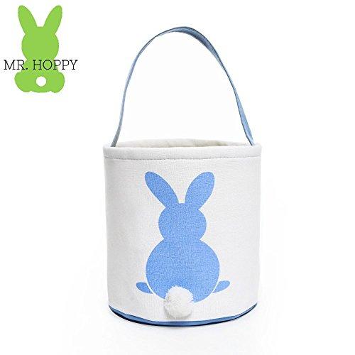 MR HOPPY - Easter Bunny Basket - Canvas Tote - Easter Egg Hunts - Storage Tote for Home Decor (Blue)