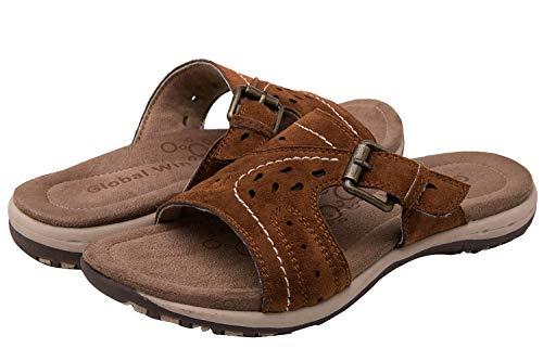 GLOBALWIN Women's Brown Flat Slide Sandal 9 M US
