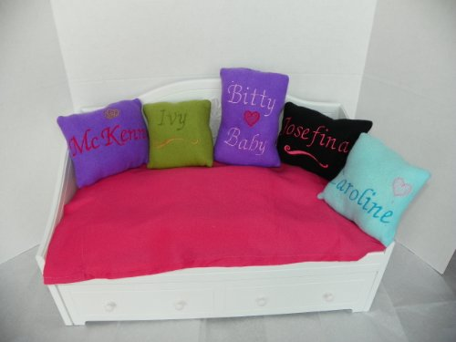 """Monogrammed Purple Fleece Pillow Fits Doll Bed 18"""" Doll for American Girl Doll McKenna"""