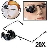 Gafas Lupa para relojero, estructura de metal,, resistente, con monóculo, lente para 20aumentos y luz LED