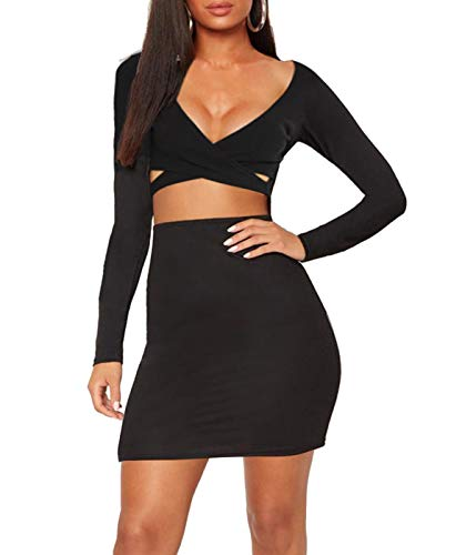 e7a8896f2842c Galleon - Women Long Sleeve Midi Sexy Bodycon Dress Cut Out Fitted Bandage  Crop Top Dresses Party Wear Body Con Cutout Clubwear (Black Dress