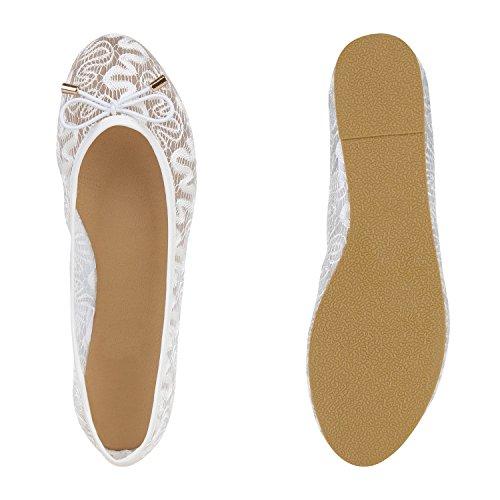 Stiefelparadies Damen Klassische Ballerinas Metallic Slipper Glitzer Slip On Schuhe Strass Flats Übergrößen Abendschuhe Abiball Flandell Weiss Brooklyn