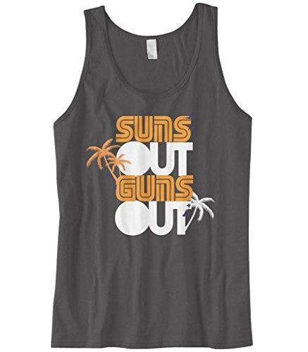 Cybertela Men's Palm Trees Suns Out Guns Out Tank Top (Charcoal, X-Large) (Suns Out Guns Out Shirt Tank Top)