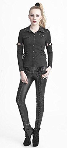 Pantalón negro con lazada imitación ante sobre la longitud Punk Rave negro