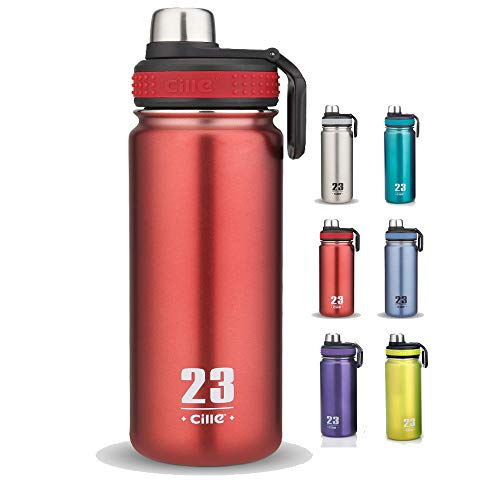 (CILLE 24 oz Stainless Steel Water Bottles, Insulated Water Bottles, Double Wall Leak Proof Bicycle Water Bottle for Sports Water Bottle (Red))