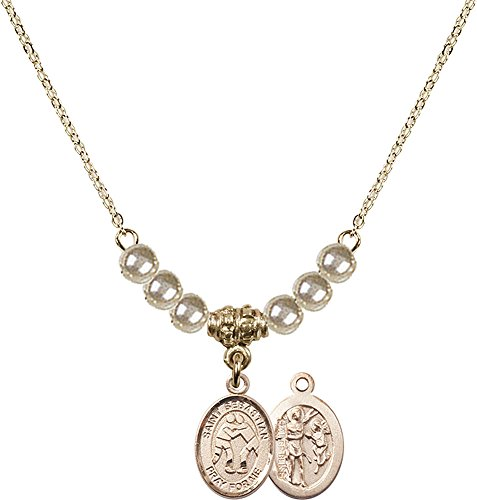 18-Inch Hamilton Gold Plated Necklace with 4mm Faux-Pearl Beads and Gold Filled Saint Sebastian/Wrestling Charm. by F A Dumont