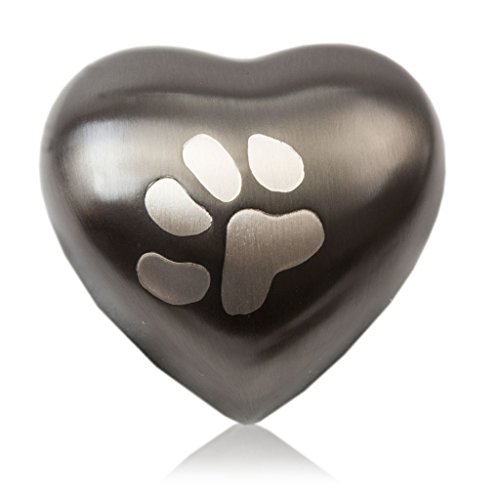 OneWorld Memorials Paw Print Bronze Cremation Keepsake for Cats and Dogs - Small - Holds Up to 3 Cubic Inches of Ashes - Slate Grey Pet Cremation Urn for Ashes - Engraving Sold Separately (Best Cremation Care Reviews)