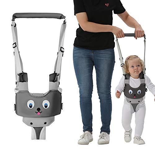 Handheld Baby Walking Harness for Kids, Adjustable Toddler Walking Assistant with Detachable Crotch, Safe Standing & Walk Learning Helper for 8+ Months Baby (Grey-Puppy)