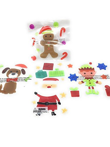 Winter Christmas Holiday Season Window Gel Cling Stickers ~ Santa Claus, Elves, Snowflakes, Puppy Dogs, Gingerbread Man, Candy Canes ~ Pack of 4 ~ 80 Gel (Gingerbread Man Candy Cane)