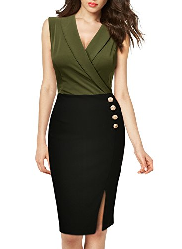 Missmay Women's Workwear Business Lapel Sleeveless Cocktail Party Pencil Dress Green (Party Pencil)