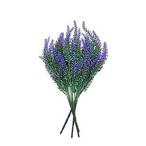EZFLOWERY 4 Bundles Artificial Lavender Flowers Bouquet Arrangement, for Home Decor, Wedding, Office, Garden, Patio, Room, Hotel, Event, Party Decoration (4 Pack, Lavender - Purple) 53