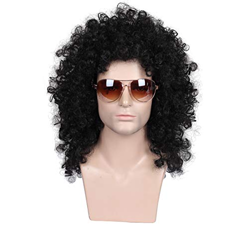 ColorGround Medium Long 80s Curly Smart Rocker Style Wig -