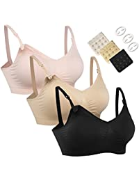 3PACK Full Bust Seamless Nursing Maternity Bras Bralette S-XL With Extra Bra Extenders & Clips