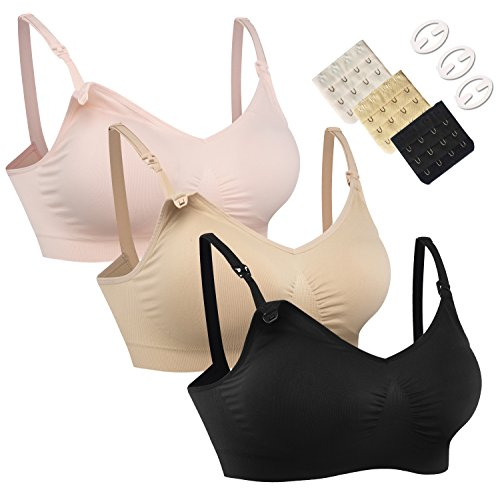 Women's Full Cup Lightly Padded Wirefree Maternity Breastfeeding Nursing Bra Size L, 3PCS/Pack(Pink-Black-Beige)