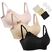 Women's Full Cup Lightly Padded Wirefree Maternity Breastfeeding Nursing Bra,M,3PCS/Pack(Pink-Black-Beige)