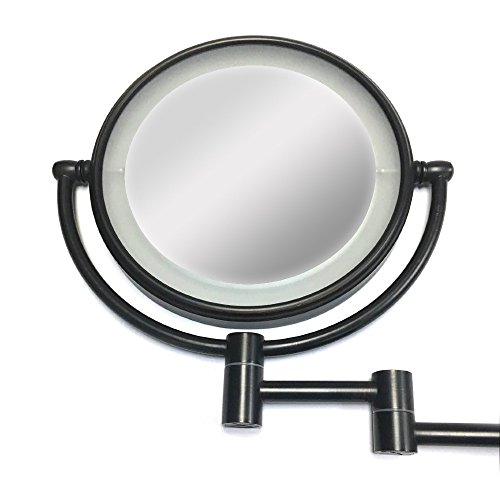 Wall Mount Makeup Mirror with LED Lighted Wall Mounted 5x Magnification,ORB Finish (8-inch,5x) by LeHang (Image #1)
