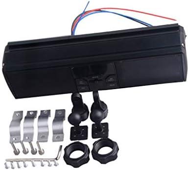 P Prettyia 全3色 バイク 防水 オーディオサウンドシステム APPコントロール FMラジオステレオスピーカー - ブラック