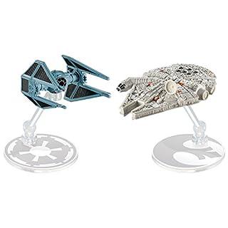 Hot Wheels Star Wars Starship Millennium Falcon vs Tie Interceptor, Pack of 2