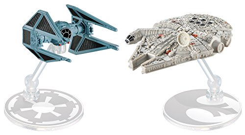 (Hot Wheels Star Wars Starship Millennium Falcon vs Tie Interceptor, Pack of 2)