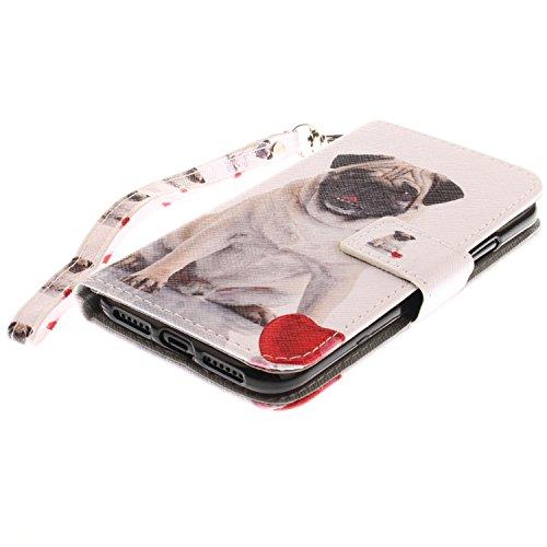 iPhone X Hülle Großer Hund PU Leder Wallet Handytasche Flip Etui Schutz Tasche mit Integrierten Card Kartensteckplätzen und Ständer Funktion Für Apple iPhone X / iPhone 10 (2017) 5.8 Zoll + Zwei Gesch