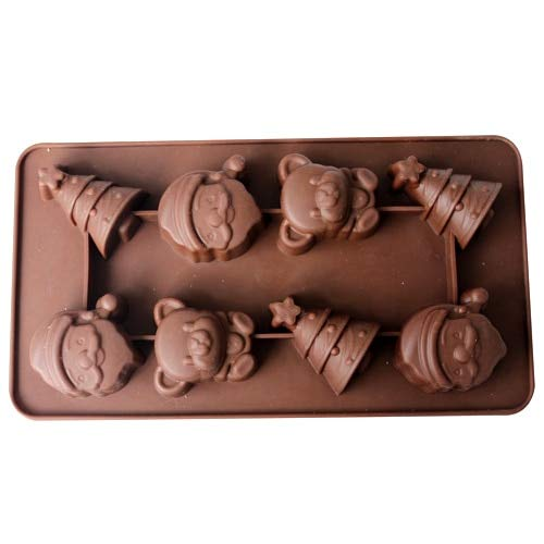 Silicone Chocolate Mold 8-Cavity Santa Claus Christmas Tree Shape Chocolate Candy Making Mould