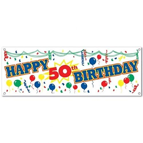 """Price comparison product image hersrfv home Happy 50th Birthday Sign Banner Plastic 5' x 21"""""""