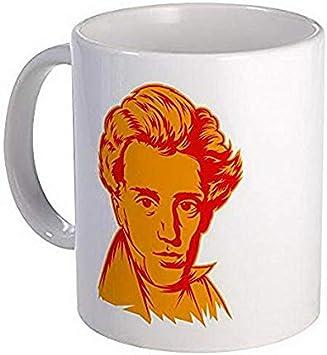 Taza de cerámica de café y té de Strk3 Soren Kierkegaard, 11 oz, color blanco