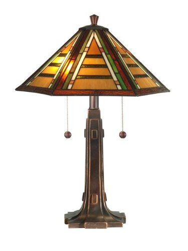 Dale Tiffany TT11049 Grueby Tiffany Table Lamp, Antique Golden Sand