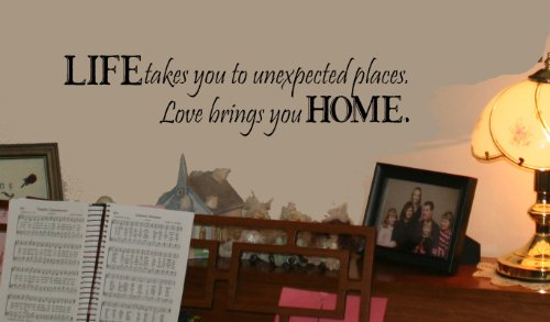 Home Wall Decals (Wall Décor Plus More WDPM130 Life Takes Us Love Brings Us Home Wall Vinyl Sticker Quote, 6 x 24-Inch,)