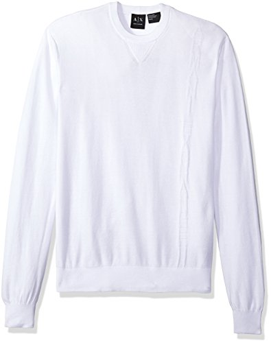- A|X Armani Exchange Men's Long Sleeve Crew Neck Pullover Knit Reg Fit, White, Large