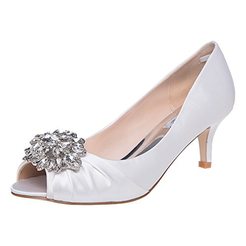SheSole Womens Low Heel Dress Pumps Rhinestone Open Toe Wedding Shoes White  US 11