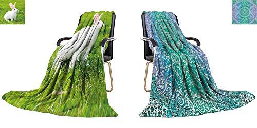 YOYI-home Warm Microfiber All Season Blanket White Rabbit on Green Grass Print Image Thicken Blanket 60
